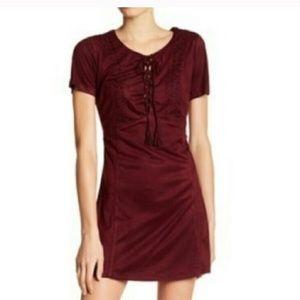 Miss Me burgundy faux suede dress